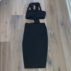 Boohoo black dress with cut out